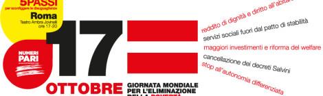 Giornata mondiale per l'eliminazione della povertà: Roma, 17 ottobre